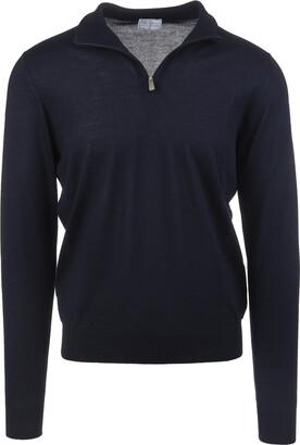 Fedeli Man Half-zip Favonio Pullover In Night Blue Silk And Cashmere