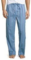 Derek Rose Satin-Striped Pajama Pants, Light Blue