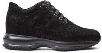 Hogan Interactive Black Shiny Black Nubuck Sneakers