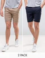 Asos Design DESIGN 2 pack skinny chino shorts in navy & stone save