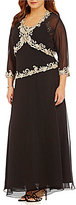 J Kara Plus Bead-Embroidered V-Neck Bolero Jacket Dress