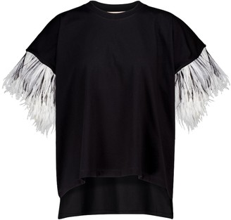 Christopher Kane Feather-trimmed cotton T-shirt