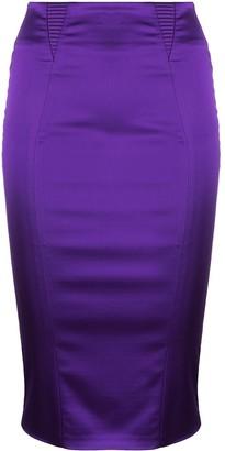 Murmur Satin Fitted Skirt