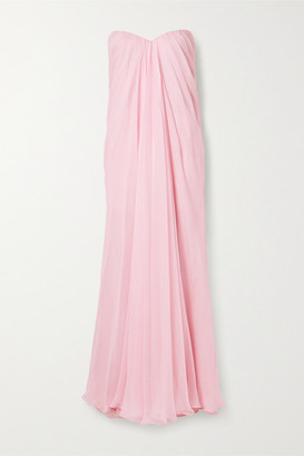 Alexander McQueen Strapless Draped Silk-chiffon Gown - Baby pink