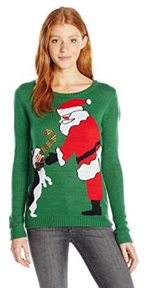 Love by Design Women's Santa's Pup Christmas Sweater