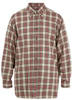 Raf Simons Button-down Collar Checked Linen-blend Shirt
