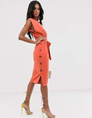 Asos Design DESIGN cap sleeve split sleeve midi dress with button skirt