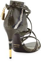 Tom Ford Padlock Ankle-Wrap Snake Sandal, Military