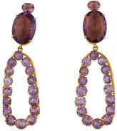 Bounkit Amethyst Open Oval Drop Earrings