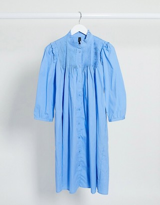 Y.A.S button through smock dress with pleat detail in blue