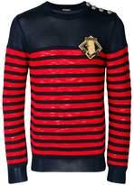 Balmain striped button sweater