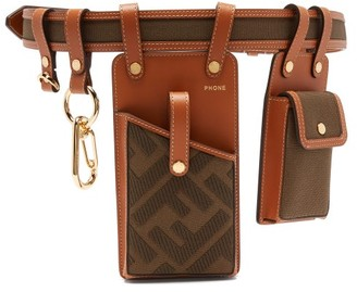 Fendi Ff-jacquard Leather And Canvas Utility Pocket Belt - Womens - Brown