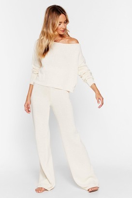 Nasty Gal Womens Recycled Day Off-the-Shoulder Pants Lounge Set - Cream