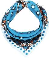 Tory Burch STAMPED FLORAL SILK NECKERCHIEF Scarf tory navy