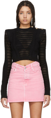 Balmain Black Distressed Crop Turtleneck