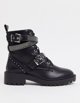 New Look lace up diamante detail biker boots in black