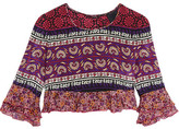 Anna Sui Cropped Ruffled Printed Silk And Cotton-blend Top - Pink