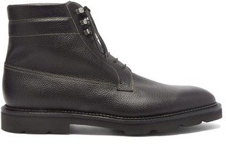 John Lobb Alder Topstitched Pebbled-leather Boots - Black