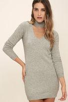 LuLu*s Sweetest Devotion Heather Grey Turtleneck Sweater Dress
