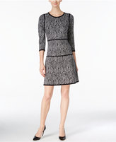Nine West Printed A-Line Sweater Dress