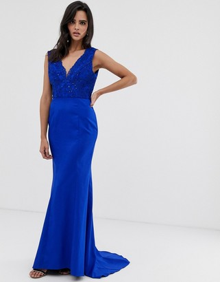 Chi Chi London plunge front lace maxi dress with fishtail in royal blue