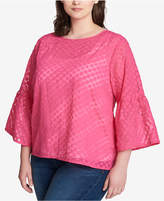 Tommy Hilfiger Plus Size Dot-Print Bell-Sleeve Top, Created for Macy's