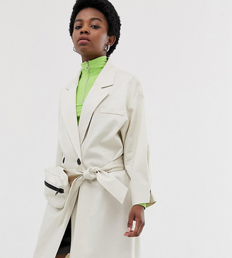 Collusion Petite trench coat with removable bag