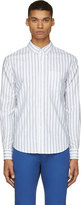 Band Of Outsiders White & Blue Pinstriped Logo Shirt