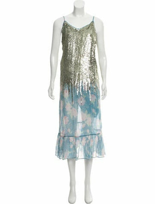 Manoush Sequined Floral Print Dress blue
