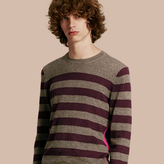 Burberry Striped Cashmere Cotton Sweater , Size: Xs, Grey
