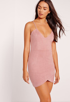 Missguided Petite Exclusive Faux Suede Mini Dress Pink
