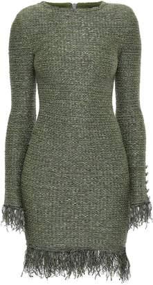 Balmain Fringed Metallic-trimmed Tweed Mini Dress