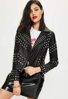 Missguided Black Faux Leather Studded Biker Jacket