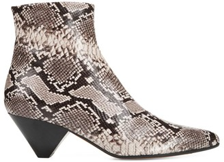 Vince Alder Snakeskin-Embossed Leather Ankle Boots