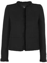 Maje Fringed Bouclé-tweed Jacket - Black