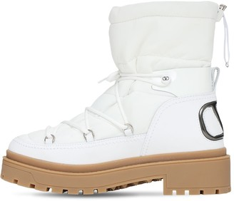 Valentino Garavani 40mm Nylon & Leather Snow Boots