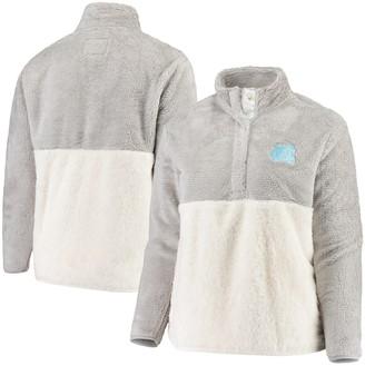 Women's Gray/Cream North Carolina Tar Heels Plus Size Fuzzy Fleece Colorblocked Four-Snap Pullover Jacket