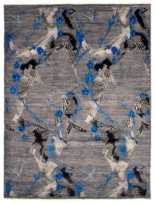 Ecarpetgallery Abstract Hand Knotted Wool Gray/Ivory/Blue Area Rug