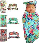 BYM Newborn Swaddle Cocoon,Receiving Blankets Blanket&Headband Set (1-3 Pack)