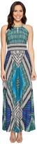 London Times Sleeveless Keyhole Halter Maxi Dress