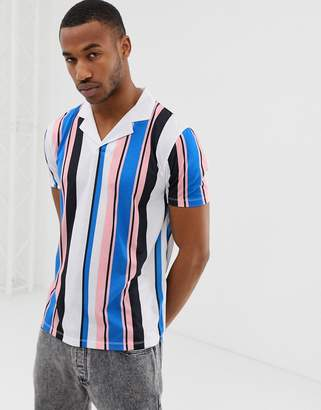 Asos Design DESIGN polo with vertical stripe and revere collar-White