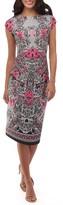 ECI Women's Print Scuba Sheath Dress