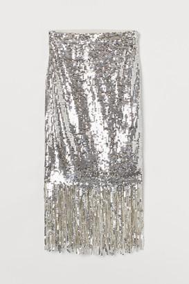 H&M Fringe-trimmed sequined skirt