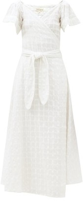 Mara Hoffman Adelina Wrap-front Check Cotton Dress - White