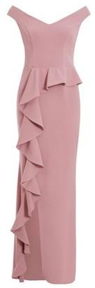 Dorothy Perkins Womens *Quiz Mauve Bardot Peplum Frill Maxi Dress, Mauve
