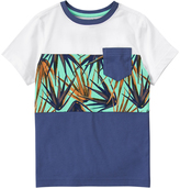 Crazy 8 Indigo & White Palm Block Pocket Tee - Boys
