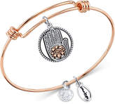 Unwritten Two-Tone Hamsa Charm Bangle Bracelet in Rose Gold-Tone Stainless Steel and Silver-Plate