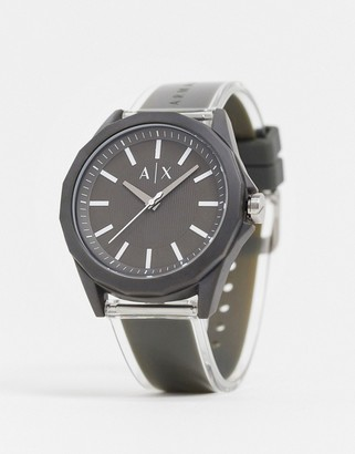 Armani Exchange Drexler leather watch in grey AX2638