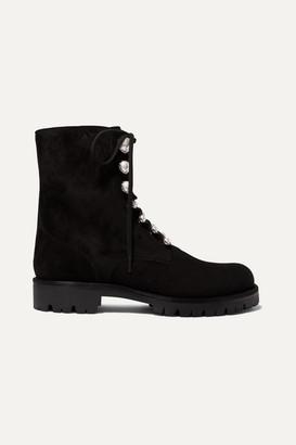 Rene Caovilla Embellished Suede Ankle Boots - Black