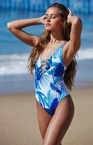 La Hearts Tropical Print Lace-Up One Piece Swimsuit